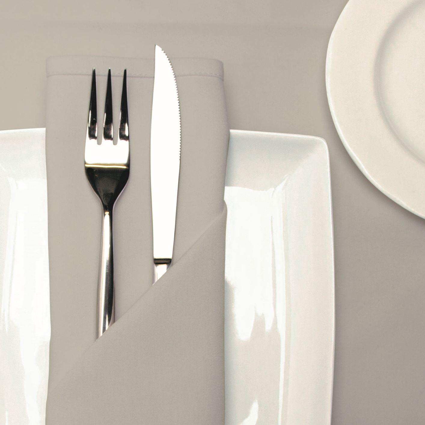 Kudos light grey table cloths and napkins